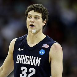 Mar 24, 2011; New Orleans, LA; Brigham Young Cougars guard Jimmer Fredette (32) during the second half of the semifinals of the southeast regional of the 2011 NCAA men's basketball tournament against the Florida Gators at New Orleans Arena.  Mandatory Credit: Derick E. Hingle