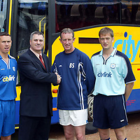 St Johnstone launch new strip and new sponsor 04.07.02<br />New signings John Robertson (left) models the new home strip alongside Ian Maxwell modelling the new away strip pictured with Neil Wood, Managing Director of new sponsors Citylink and Manager Billy Stark<br /><br />see story by Gordon Bannerman Tel: 01738 493213 or contact Charles Mann on 0131 558 3111<br /><br />Picture by Graeme Hart.<br />Copyright Perthshire Picture Agency<br />Tel: 01738 623350  Mobile: 07990 594431