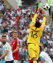 June 26, 2018 - Moscow, Russia - France's goalkeeper Steve Mandanda defends during the 2018 FIFA World Cup Group C match between Denmark and France in Moscow, Russia, June 26, 2018. The match ended in a 0-0 draw. France and Denmark advanced to the round of 16. (Credit Image: © Cao Can/Xinhua via ZUMA Wire)