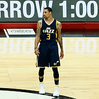 15 April 2017: Utah Jazz guard George Hill (3) is seen during the Utah Jazz 97-95 victory over the Los Angeles Clippers, during game 1 of the first round of the Western Conference playoffs, at the Staples Center, Los Angeles, California, USA.
