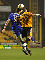 Photo: Steve Bond/Sportsbeat Images.<br /> Wolverhampton Wanderers v Leicester City. Coca Cola Championship. 22/12/2007. Gareth McAuley (L) and Freddy Eastwood (R) in an aeriel challange