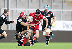 Ryan Edwards of Bristol United is tackled by James Freeman of Exeter Braves  - Mandatory by-line: Gary Day/JMP - 09/09/2017 - RUGBY - Sandy Park Stadium - Exeter, England - Exeter Braves v Bristol United - Aviva A League