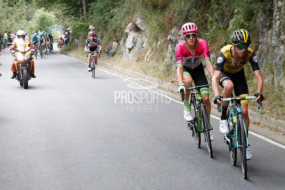 George Bennett (NZL, Team LottoNL Jumbo) and Pierre Rolland (FRA, EF Education First - Drapac) during the 73th Edition of the 2018 Tour of Spain, Vuelta Espana 2018, Stage 15 cycling race, 15th stage Ribera de Arriba - Lagos de Covadonga 178,2 km on September 9, 2018 in Spain - Photo Luis Angel Gomez/ BettiniPhoto / ProSportsImages / DPPI