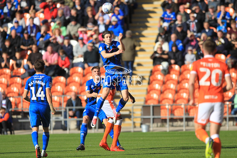 Sam Hart wins a header  during the EFL Sky Bet League 1 match between Blackpool and Rochdale at Bloomfield Road, Blackpool, England on 6 October 2018.