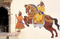Inde. Rajasthan. Palais de Rohat. Region de Jodpur. Peinture réalisée pour un mariage // India. Rajasthan. Rohat palace. Jodhpur area.  Wedding painting.
