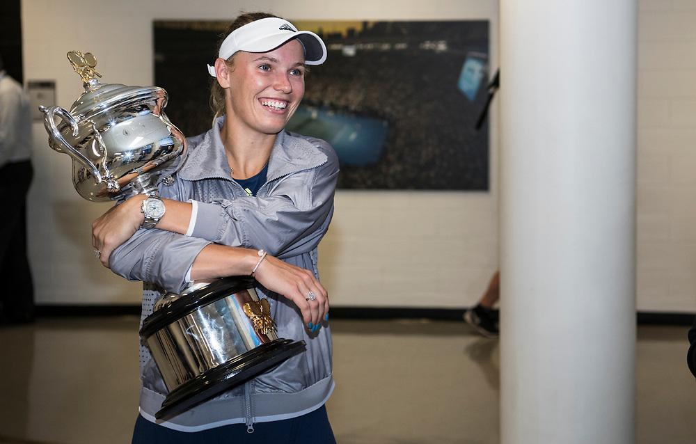 Caroline Wozniacki of Denmark after winning the women's singles championship match during the 2018 Australian Open on day 13 in Melbourne, Australia on Saturday night January 27, 2018.<br /> (Ben Solomon/Tennis Australia)