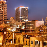 View of the Crown Center skyline in the south part of downtown Kansas CIty Missouri from a fire escape at 18th and Holmes.