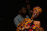 """Grammy nominated jazz vocalist, Jazzmeia Horn held her first performance in Chicago Friday evening, November 30th, 2018 at the Reva and David Logan Center located at 915 E. 60th Street.<br /> <br /> Please 'Like' """"Spencer Bibbs Photography"""" on Facebook.<br /> <br /> Please leave a review for Spencer Bibbs Photography on Yelp.<br /> <br /> Please check me out on Twitter under Spencer Bibbs Photography.<br /> <br /> All rights to this photo are owned by Spencer Bibbs of Spencer Bibbs Photography and may only be used in any way shape or form, whole or in part with written permission by the owner of the photo, Spencer Bibbs.<br /> <br /> For all of your photography needs, please contact Spencer Bibbs at 773-895-4744. I can also be reached in the following ways:<br /> <br /> Website – www.spbdigitalconcepts.photoshelter.com<br /> <br /> Text - Text """"Spencer Bibbs"""" to 72727<br /> <br /> Email – spencerbibbsphotography@yahoo.com<br /> <br /> #SpencerBibbsPhotography <br /> #HydePark <br /> #JazzmeiaHorn<br /> #Community <br /> #Neighborhood<br /> #CanonUSA"""