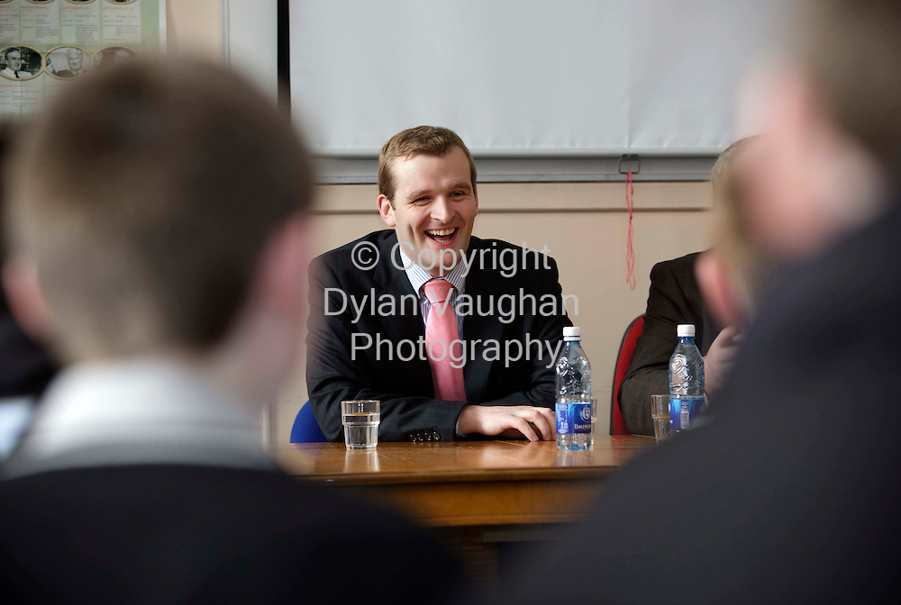 3/4/2009.free picture no charge for use.European Election candidate for Ireland East, Senator John Paul Phelan, Fine Gael with 2nd year St Kierans College students as part of the Oireachtas Education Outreach Programme..Picture Dylan Vaughan