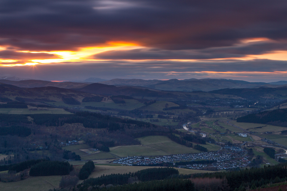 The Tweed Valley at dusk just as the sun is setting from Lee Pen