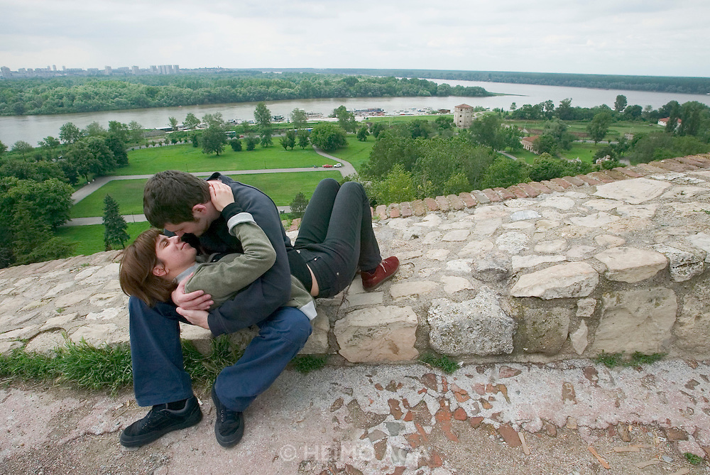 Young lovers at Kalemegdan Castle. View over the confluence of Sava (l.) and Danube rivers...M.S. Johann Strauss, a brand new four star+ river cruiser operated by Austrian River Cruises, and chartered by Club 50 (a travel agency especially for seniors aged 50 and up) undertook an epic 3-week journey (May 21 to June 10, 2004) all the way from Amsterdam to the Black Sea?along Rhine, Main and Danube?, presumably the first passenger vessel ever to have done so. This is one of the images recorded during this historic voyage.