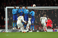 Football - 2017 / 2018 Europa League - Round of Thirty-Two, Second Leg: Arsenal (3) vs. Ostersunds FK (0)<br /> <br /> Saman Ghoddos of Ostersunds takes a free kick over the wall of Danny Wekbeck, Mohamed Elneny, Alex Iwobi and Ainsley Maitland - Niles of Arsenal, at The Emirates.<br /> <br /> COLORSPORT/ANDREW COWIE