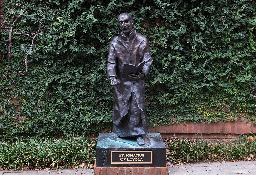 Sculpture of Saint Ignatius of Loyola, founder of the Jesuits, Charlotte, North Carolina, USA