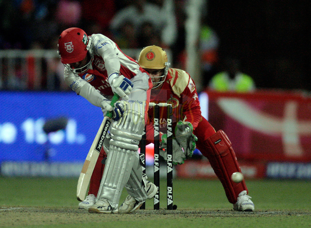 DURBAN, SOUTH AFRICA - 1 May 2009. Mahela Jaayawardene plays a shot during the IPL Season 2 match between Kings X1 Punjab and the Royal Challengers Bangalore held at Sahara Stadium Kingsmead, Durban, South Africa..