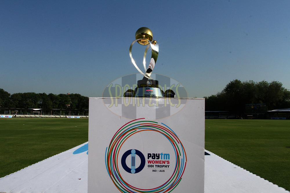 The Paytm Women ODI trophy kept at display during the first women's one day International ( ODI ) match between India and Australia held at the Reliance Cricket Stadium in Vadodara, India on the 12th March 2018<br /> <br /> Photo by Vipin Pawar / BCCI / SPORTZPICS
