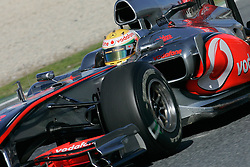 26.02.2010, Circuit de Catalunya, Barcelona, ESP, Formel 1 Tests, im Bild Lewis Hamilton - Vodafone McLaren Mercedes, EXPA Pictures © 2010, PhotoCredit: EXPA/ InsideFoto/ Semedia / SPORTIDA PHOTO AGENCY