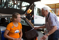 Ellen van Dijk (NED) of Team Netherlands chats to a fan before Stage 6 of the Lotto Thuringen Ladies Tour - a 80.5 km road race, starting and finishing in Gotha on July 18, 2017, in Thuringen, Germany. (Photo by Balint Hamvas/Velofocus.com)
