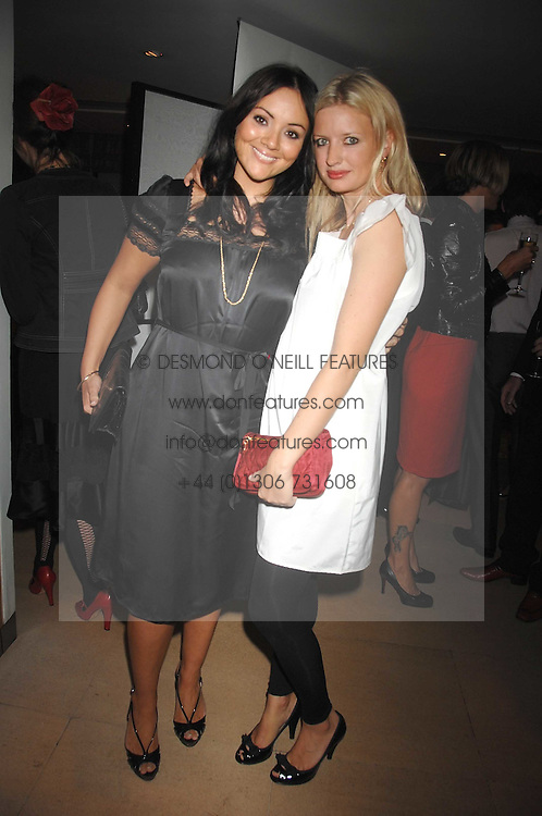 Left to right, MARTINE McCUTCHEON and LAINEY SHERIDAN-YOUNG at a dinner in aid of Eve Appeal, Gynaecology Cancer research Fund held at Nobu, The Metropolitan Hotel, Park Lane, London on 3rd September 2007.<br />