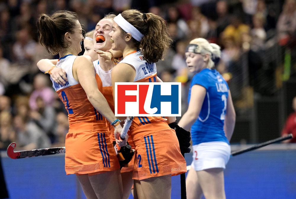 BERLIN - Indoor Hockey World Cup<br /> Quarterfinal 4: Netherlands - Czech Republic<br /> foto: Netherlands celebrate.<br /> WORLDSPORTPICS COPYRIGHT FRANK UIJLENBROEK