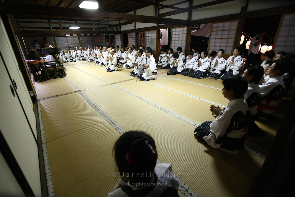 Aug 14, 2009; Kyoto, Kyoto Pref., JPN - The oldest obon odori dance is performed at Yusenji Temple.. .Photo credit: Darrell MIho.