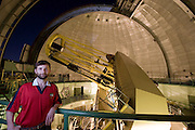 Lick Observatory on Mt. Hamilton. San Jose, California. Chris McCarthy, astronomer, with the 120-inch telescope.