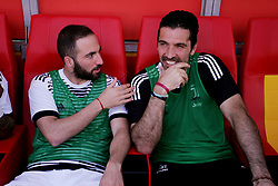April 7, 2018 - Benevento, Italy - Gonzalo Higuain (FC Juventus) and Gianluigi Buffon (FC Juventus) during the Italian Serie A football Benevento Calcio v FC Juventus at Ciro Vigorito..Stadium in Benevento on April 07, 2018  (Credit Image: © Paolo Manzo/NurPhoto via ZUMA Press)