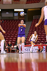 06 SEP 2008:  Libero Liz Rondone sets the ball from the back row during a game between the Golden Grizzlies of Oakland and the Catamounts of Western Carolina. The Redbird Classic is held on Doug Collins Court in Redbird Arena located on the campus of Illinois State University in Normal IL.