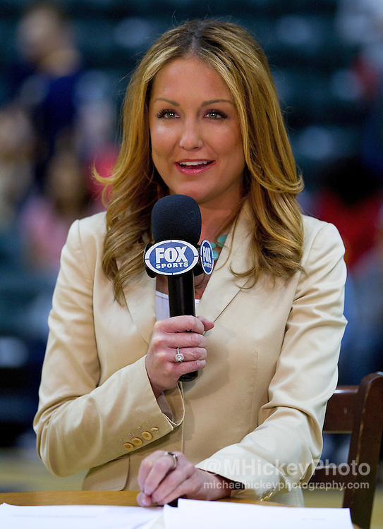 Dec. 30, 2011; Indianapolis, IN, USA; Fox Sports broadcaster Brooke Olzendam broadcasts during the pre game show before the Indiana Pacers vs Cleveland Cavaliers at Bankers Life Fieldshouse. Indiana defeated Cleveland 81-91. Mandatory credit: Michael Hickey-US PRESSWIRE