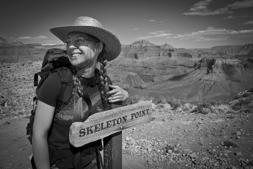 Hiking the Grand Canyon's Kaibab Trail, South Rim. Grand Canyon National Park, Arizona.