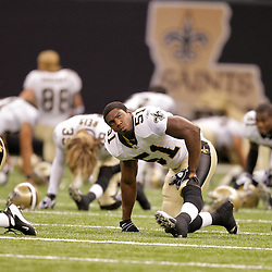 2009 September 03: New Orleans Saints linebacker Jonathan Vilma (51) during warm ups before a preseason game between the Miami Dolphins and the New Orleans Saints at the Louisiana Superdome in New Orleans, Louisiana.