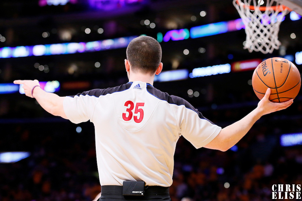 09 March 2014: referee Kane Fitzgerald (35) is seen during the Los Angeles Lakers 114-110 victory over the Oklahoma City Thunder at the Staples Center, Los Angeles, California, USA.