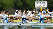 Lucerne, SWITZERLAND,ITA M4- , moves away from the start, of the third round of the  2009 FISA World Cup,  on the Rottsee regatta Course, Friday  10/07/2009  [Mandatory Credit Peter Spurrier/ Intersport Images].