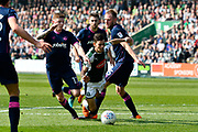 Ruben Lameiras (11) of Plymouth Argyle goes down in the penalty area after being challenged by Matt Clarke (5) of Portsmouth and Dion Donohue (17) of Portsmouth during the EFL Sky Bet League 1 match between Plymouth Argyle and Portsmouth at Home Park, Plymouth, England on 14 April 2018. Picture by Graham Hunt.