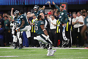 Philadelphia Eagles defensive end Brandon Graham (55) and the Eagles celebrate after a key fourth quarter play resulting in a strip sack and fumble that turns the ball over to the Eagles during the 2018 NFL Super Bowl LII football game against the New England Patriots on Sunday, Feb. 4, 2018 in Minneapolis. The Eagles won the game 41-33. (©Paul Anthony Spinelli)