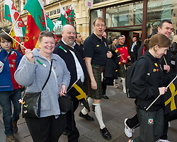 CARDIFF, WALES - Thursday, March 1, 2012: Members of the Football Association of Wales take part in the 10th St. David's Day Parade through the streets of Cardiff. Head of international affairs Mark Evans. (Pic by David Rawcliffe/Propaganda)