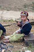 Hilltribe villages around Sapa. Red Dzao boy.