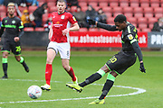 Forest Green Rovers Reece Brown(10) shoots at goal during the EFL Sky Bet League 2 match between Crewe Alexandra and Forest Green Rovers at Alexandra Stadium, Crewe, England on 27 April 2019.