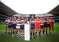 Rugby Union - 2017 / 2018 (RFU) Greene King IPA Championship - New Season Launch Photocall<br /> <br /> The Captains of the new season's Championship, pose with the Trophy at Twickenham.<br /> <br /> COLORSPORT/ANDREW COWIE