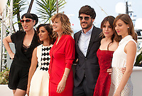Rossy de Palma, Inma Cuesta, Emma Suarez, Daniel Grao, Adriana Ugarte and Michelle Jenner at the Julieta film photo call at the 69th Cannes Film Festival Tuesday 17th May 2016, Cannes, France. Photography: Doreen Kennedy