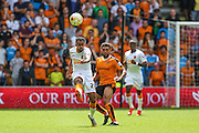 Ahmed Elmohamady clears the ball during the Sky Bet Championship match between Wolverhampton Wanderers and Hull City at Molineux, Wolverhampton, England on 16 August 2015. Photo by Shane Healey.