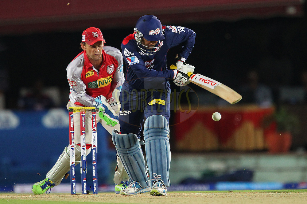 Virender Sehwag slips one down the leg side during match 67 of the Pepsi Indian Premier League between The Kings XI Punjab and the Delhi Daredevils held at the HPCA Stadium in Dharamsala, Himachal Pradesh, India on the on the 16th May 2013..Photo by Ron Gaunt-IPL-SPORTZPICS ..Use of this image is subject to the terms and conditions as outlined by the BCCI. These terms can be found by following this link:..http://www.sportzpics.co.za/image/I0000SoRagM2cIEc
