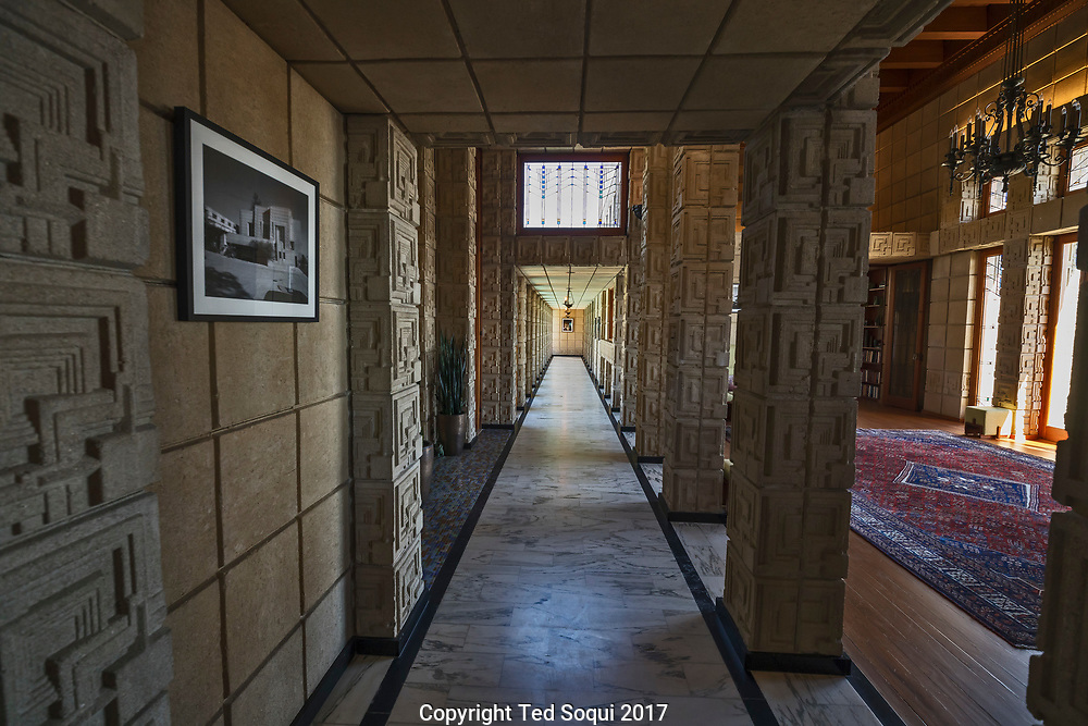 The Ennis House designed by Frank Lloyd Wright.<br /> Inside hallway.