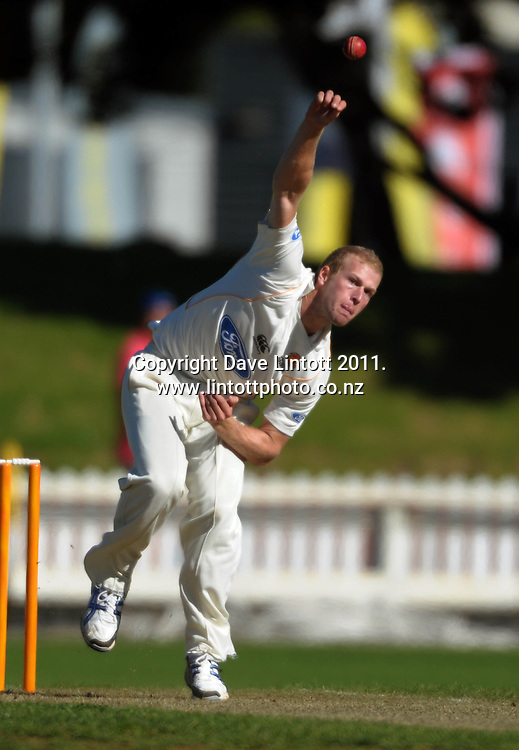 Firebirds bowler Harry Boam. Plunkett Shield cricket - Wellington Firebirds v Central Stags at Hawkins Basin Reserve, Wellington, New Zealand on Monday, 28 March 2011. Photo: Dave Lintott / photosport.co.nz