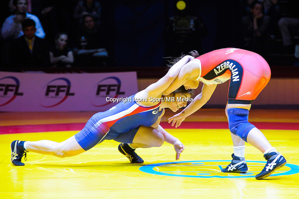 Julie Sabatie / Patimat Bagomedova - 04.12.2014 - Test match de Lutte Olympique - France / Azerbaidjan<br /> Photo : Andre Ferreira / Icon Sport