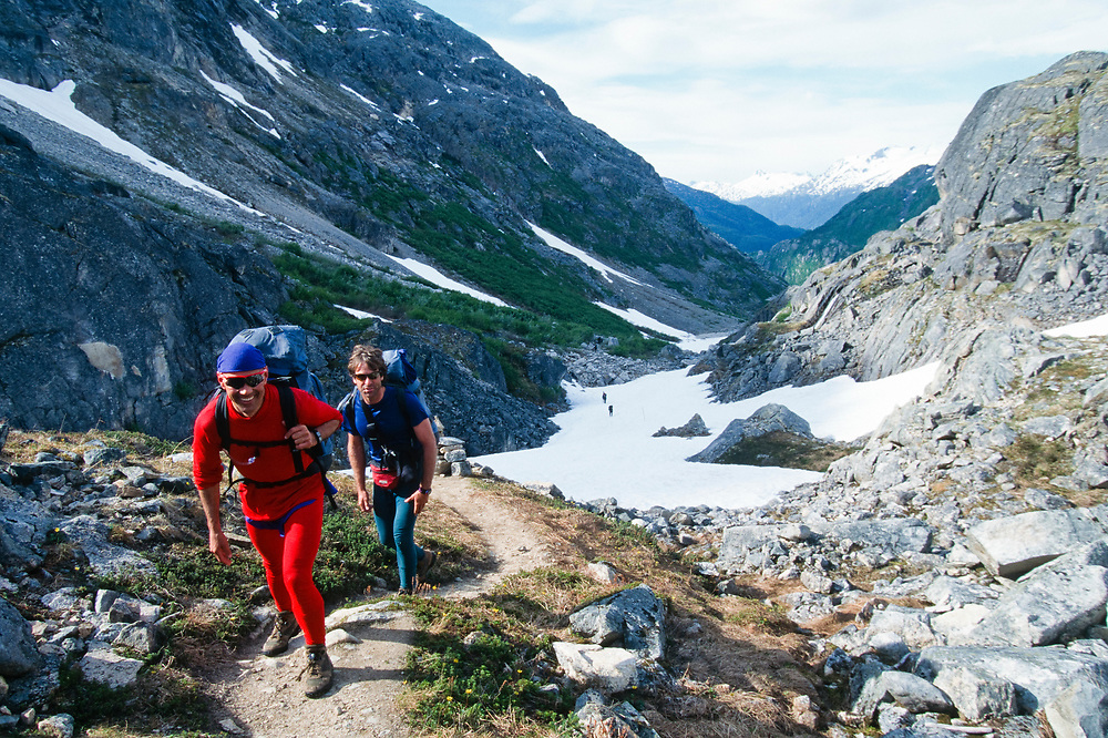 Alaska, Skagway. Chilkoot Trail hikers.