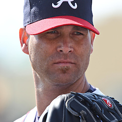 March 16, 2011; Lake Buena Vista, FL, USA; Atlanta Braves starting pitcher Tim Hudson (15) before a spring training exhibition game against the Boston Red Sox at the Disney Wide World of Sports complex.  Mandatory Credit: Derick E. Hingle
