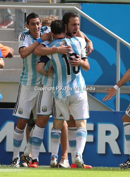 Fifa Soccer World Cup - Brazil 2014 - <br /> ARGENTINA (ARG) Vs. BELGIUM (BEL) - Quarter-finals - Estadio Nacional Brasilia -- Brazil (BRA) - 05 July 2014 <br /> Here Argentine players celebrating their goal. <br /> Gonzalo Higuain At right side<br /> &copy; PikoPress
