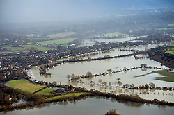 © London News Pictures. 09/02/2014. Bourne End, UK.  Aerial view showing flooding at Bourne End, Buckinghamshire where the River Thames has burst its banks. The Thames river has hit record levels causing extensive flooding to parts of the southeast of England. Photo credit : Ben Cawthra/LNP