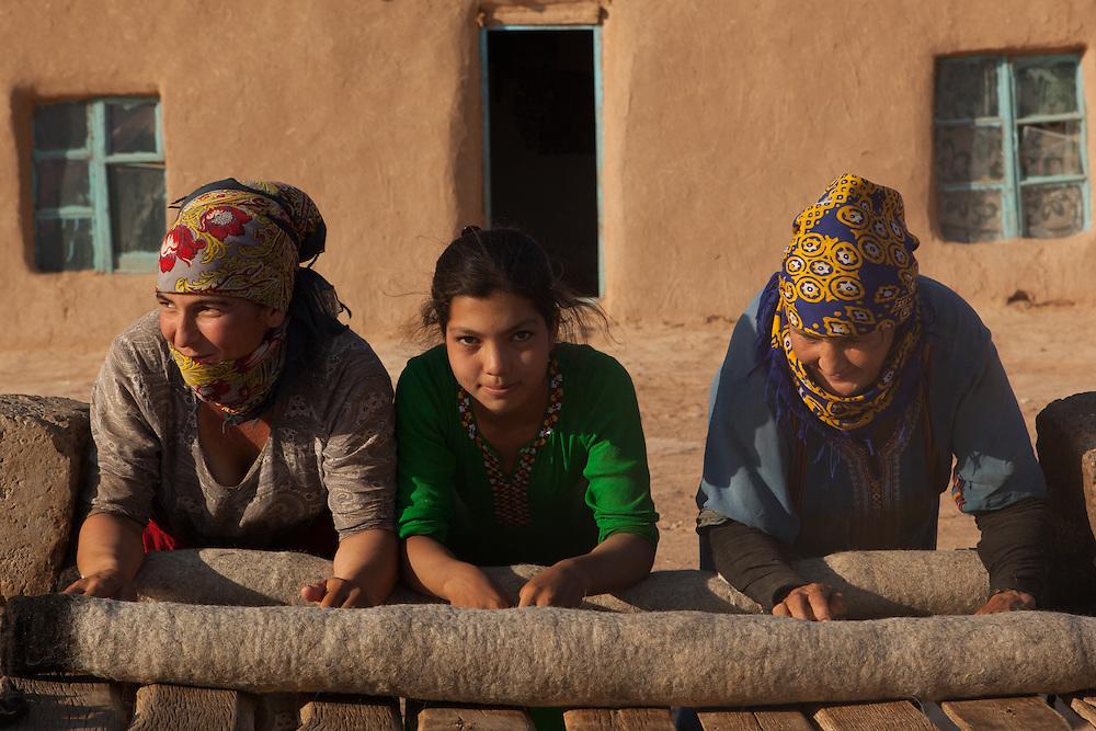 Women rolling felt, used as a sitting mat in houses and yurts, Karakum Desert, Turkmenistan