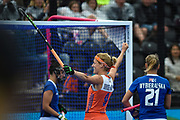 Carlien Dirkse van den Heuvel captain of the Netherlands (9) scores a goal (9-1) and celebrates during the Vitality Hockey Women's World Cup 2018 Pool A match between the Netherlands and Italy at the Lee Valley Hockey and Tennis Centre, QE Olympic Park, United Kingdom on 29 July 2018. Picture by Martin Cole.